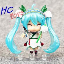 Hatsune Miku Snow Miku Plastic Girl Toy, Mini Lovely Japan Figure Model, Plastic Ornament Item