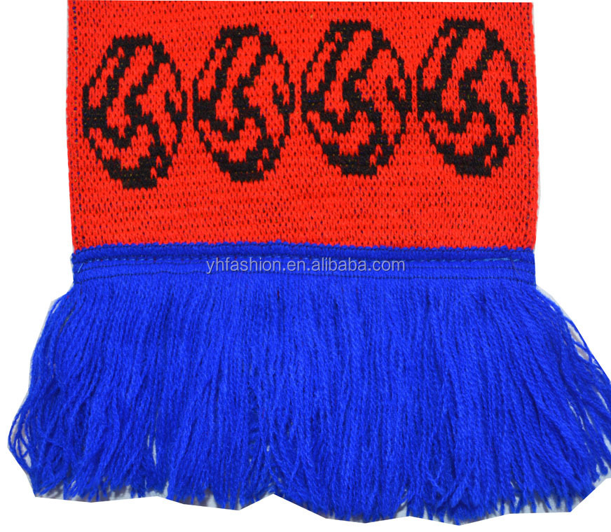 Knitting Pattern For Football Scarf : Acrylic Knitted Sports Scarf Football Team Scarf - Buy ...