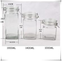 2015 Winter Canton Fair clear straight square glass canister set with glass lid and metal lid and metal clip for food
