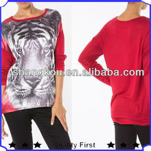 fashion ladies full prints long sleeve hot sell t shirt woman clothes