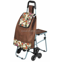 Folding 6 Wheel Shopping Trolley Bag with Chair