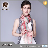 JINNUO wholesales double fabric stripe pure silk neck scarf and wraps