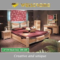 Chinese cheap price furniture 1.6*2M wholesale bed with LED light and soft headboard for Russia bed furniture market