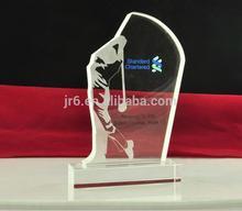 La placa de cristal con chorro de arena, trofeo de cristal premios&, los premios de golf