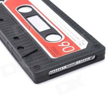 Classic Protective Cassette Style Silicone Back Case for iPhone 5 - Black