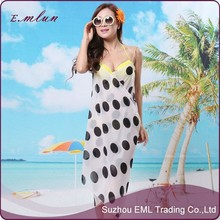 Wholesale high-grade chiffon veil dot print shawls with shoulder-straps scarves Beach one piece bathwear wrap sarong pareo
