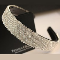 Free shipping wholesale fashion 25mm width rhinestone crystal headband for women silver bridal hairband wedding hair accessories
