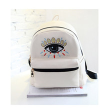 2015 new eye printed PU shoulder bags backpack leather for girls