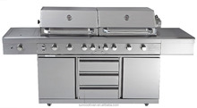 High end Stainless steel twin hood bbq gas grill