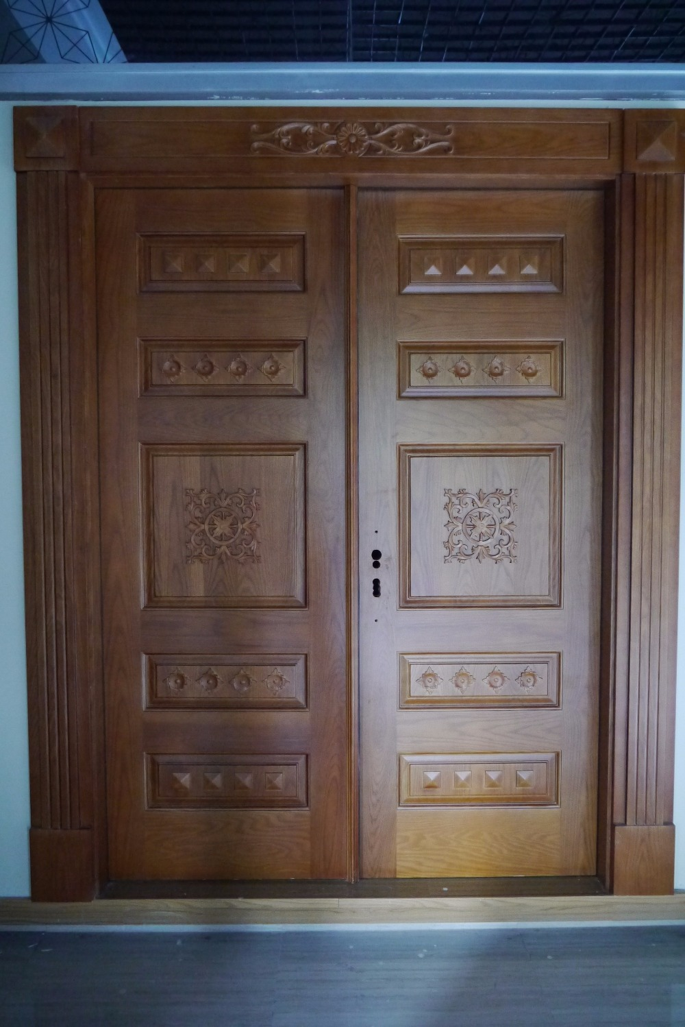 Prehung Exterior Double Door 96 Wood Mahogany 2 Panel Round Top ...