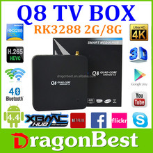 High Quality and send fast Full HD 1080p Q8 RK3288 Tv Box google android 4.4 external tv tuner box wifi