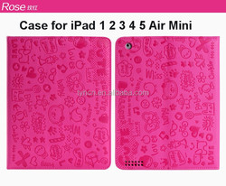 Hot Sale Cartoon Cute Lovely Folio Cover Case with Stands for iPad 12 3 4 5 Air Mini