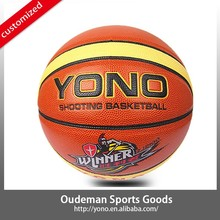 2015 New 12 panels YN-901 Custom basketball rubber colorful laminated PU cheap basketball ball accessories