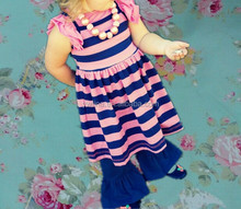 Newborn baby girls boutique sets persnickety summer super fashion wholesale toddler sets stripe dress and ruffle capri pants