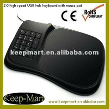 Computer numeric keyboard USB hub mouse pad