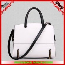 fashion women tote bag contrast stripe design PU handbags China leather handbag for ladies