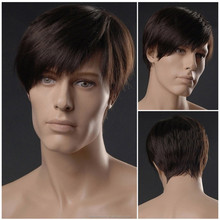 YILU Short Dark Brown Wigs For Men Lacefront Wigs Hair Wigs