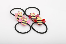 Wholesale 2015 colorful children hair tie fancy girls elastic hair band with plastic bee decorative