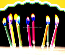 Multicolored Flame Candles in color box packing (12pcs candles)