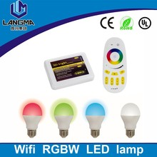 New energy saving e27 6W RGBW LED Bulb Light Lam 16 millions color changing IOS android app smart light led lamp