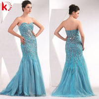 Elegant 2014 the new style tulle design off shoulder sexy beaded mermaid prom dresses