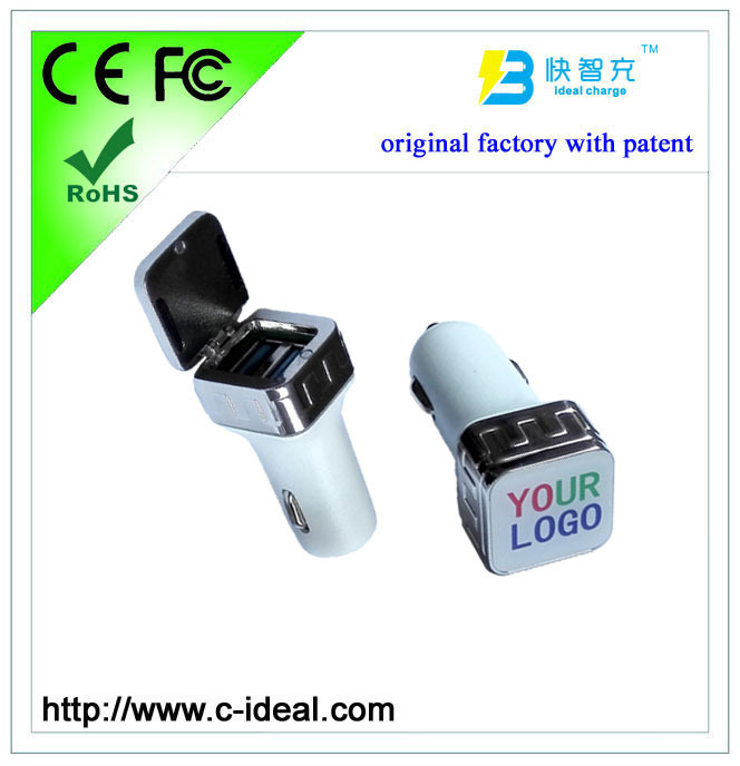 2015 metal universal dual port car usb charger (with led lighting logo,with patent,original factory)