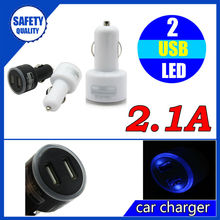 New arrival mini 5v 2.1a dual usb car charger adapter for mobile phone