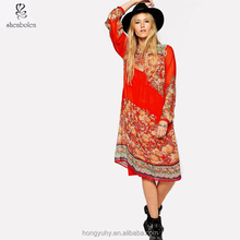 M40457 2016 New fashion long sleeve red printed floral maxi dress swing dress wholesale china manufacture