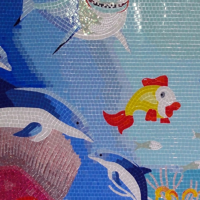See larger image for Dolphin tile mural