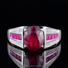 NEW! 14K Yellow Gold 4.49ct Oval 10*8 Blood Red Ruby & Diamond Cocktail Ring