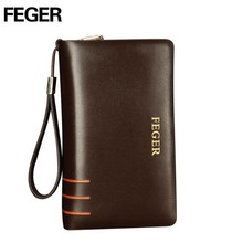 Fashionable Double Zipper Leather Pouch Bag For Clerk Card Holder