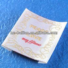 Elegent Silk woven label for evening dress
