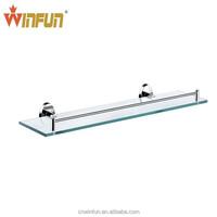 Chrome Round single tier bathroom glass shelf with brass base