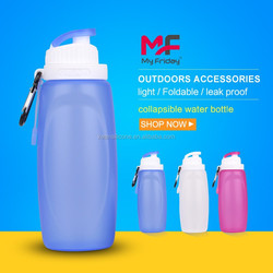 Latest design plastic and silicone collapsible sport drink bottles bpa free