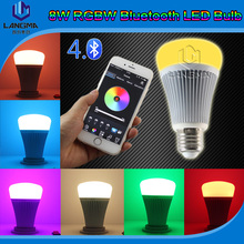 Music Led Lamp with 8w + LED Bulb for RGBW +smart Bluetooth led light bulb with Android IOS stable+ App
