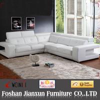H090C modern corner white leather sofa