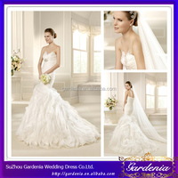 Brand Name Hot Sale Sweetheart Neck Puffy Skirt White Long Feathered Mermaid Wedding Gowns (ZX693)