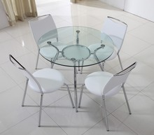 Chrome legs tempered glass table, round table