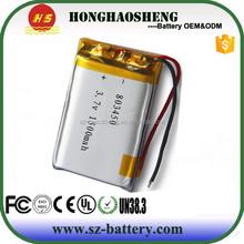 HHS803450 rechargeable 3.7V 1500mah Battery lipo