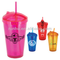 bpa free plastic double wall advertising colorful drinking tumblers