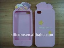 Soft Little Twin Stars Silicone Protective Case for iphone 4 with Embossed Logo