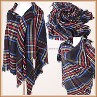 Acrylic and Modal Plaid Thick Square Shawl for Evening Dress