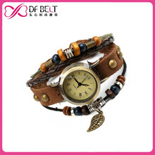 2015 alibaba cord bracelet watch with leaf ornaments