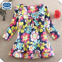 (L335) 2-6y Neat new winter flower girl dresses three colors girls frocks long sleeve fashionable design child dresses
