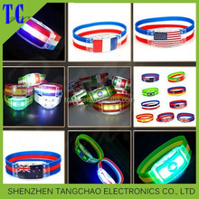 party flashing led bracelets luminous silicone flag style bracelet