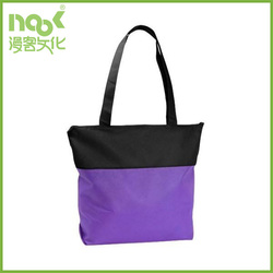 polyester bag custom material with zipper black purple