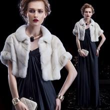 Cool natural winter women short white mink fur shawls