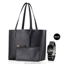 2PCS/Set Women black pu leather hand bag genuine leather for lady cheap shopping bag