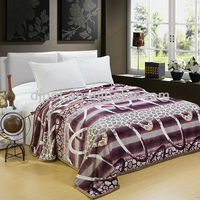 fantasy purple color printed thick mink blanket