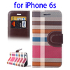 Hot selling Colorful Plaid wallet leather case for iPhone 6s with hold and card slot